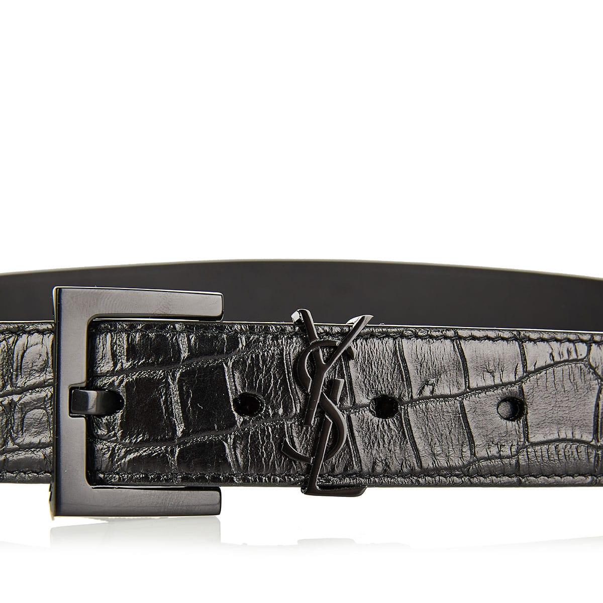 YSL croc-effect leather belt