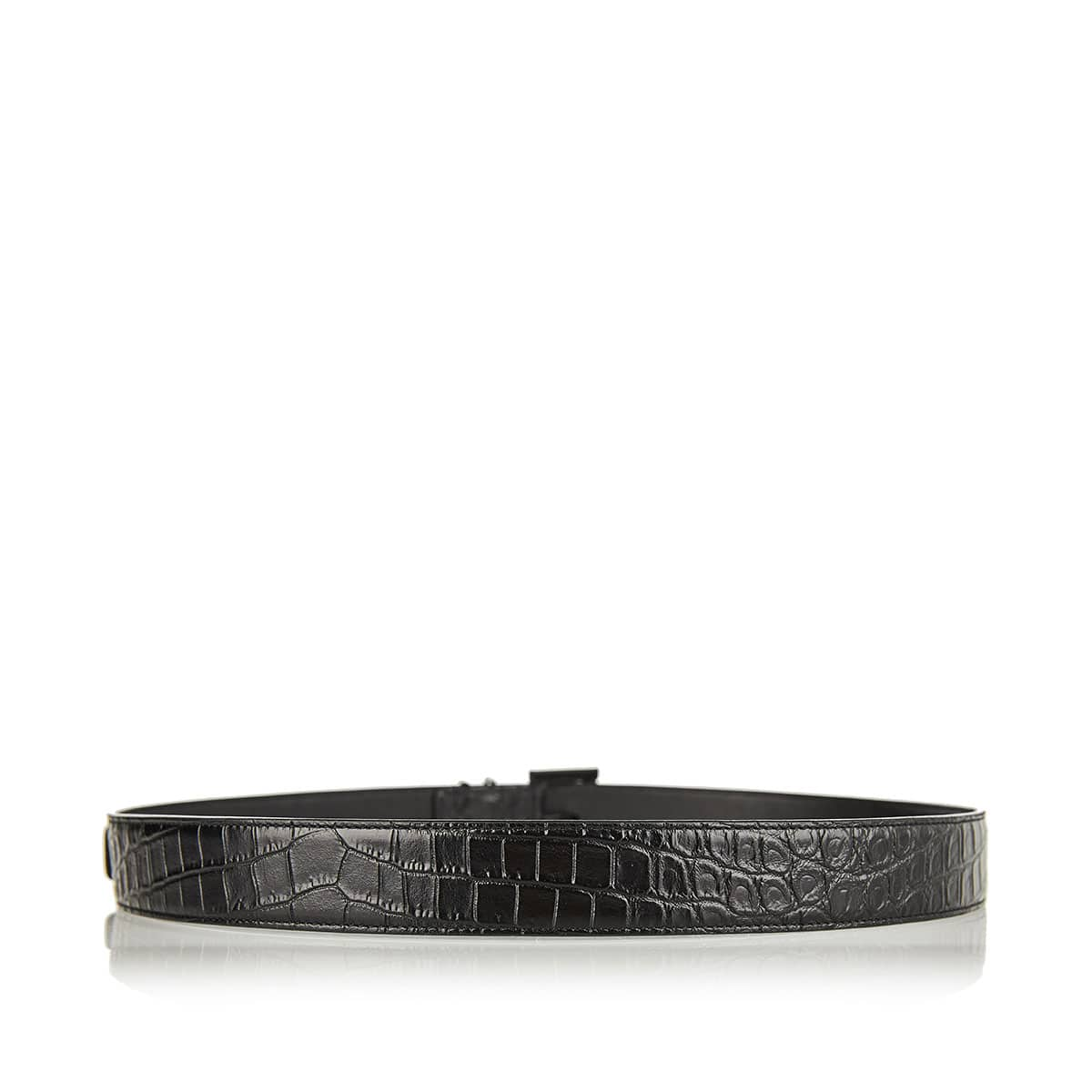 YSL croc-effect leather belt