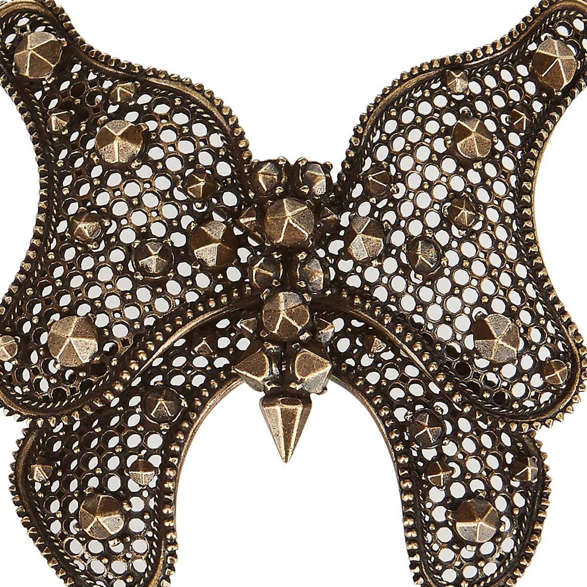 Studded brass butterfly brooch