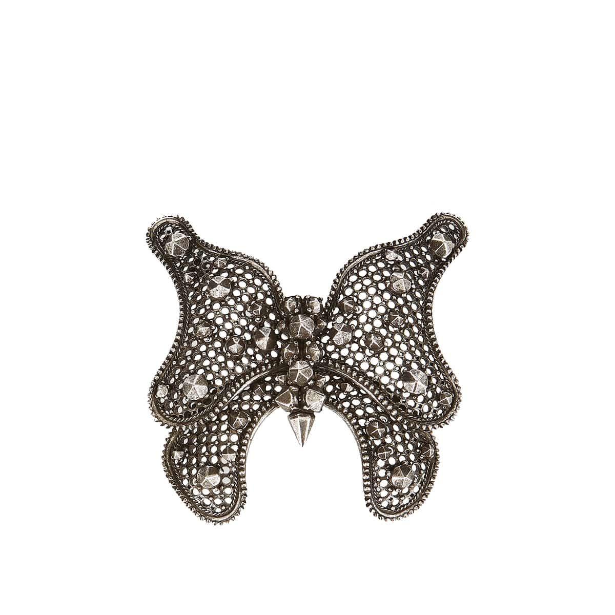 Studded brass butterfly brooch