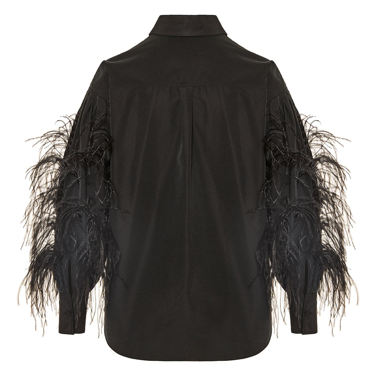 Feather-embellished oversized shirt