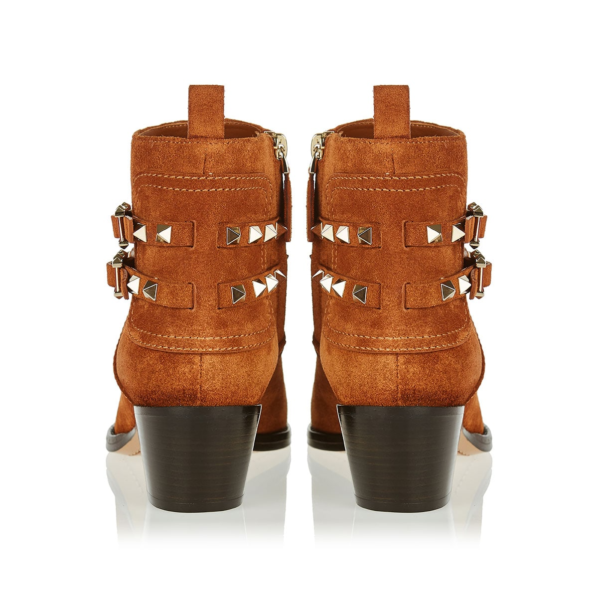 Rockstud suede cowboy booties