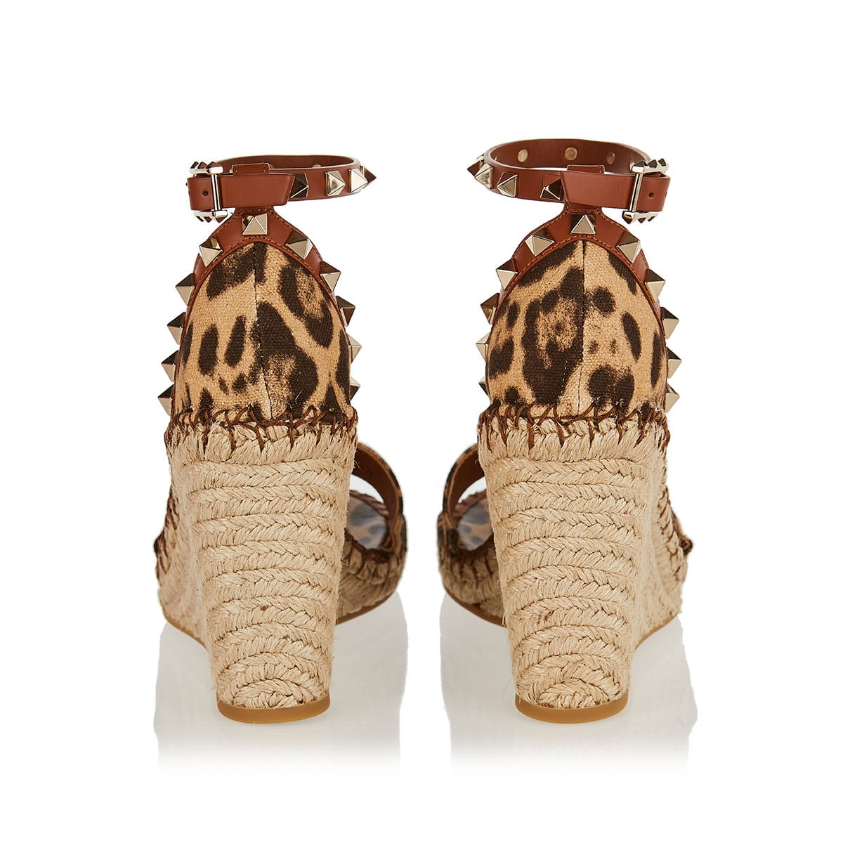 Rockstud leopard espadrille wedges