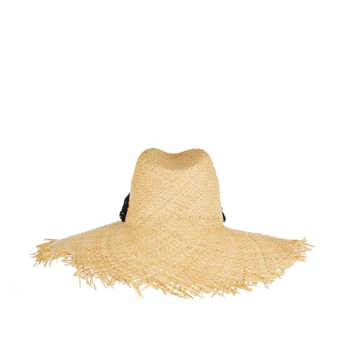 Lace-paneled fringed straw hat