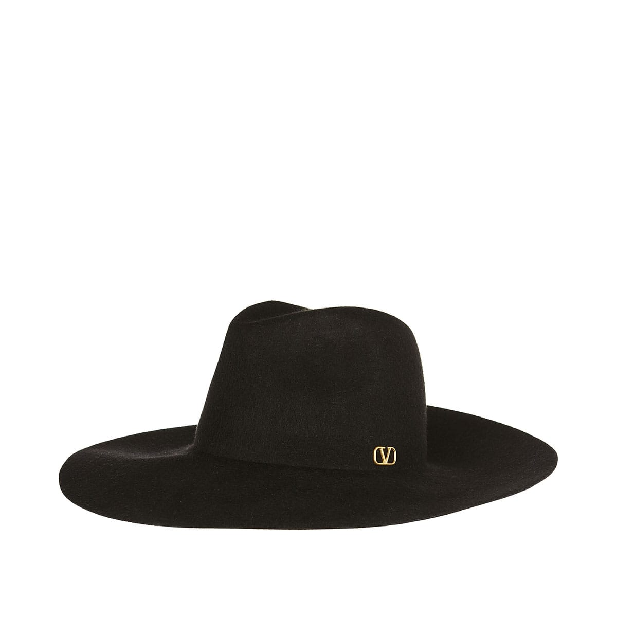 V-logo wide-brim hat