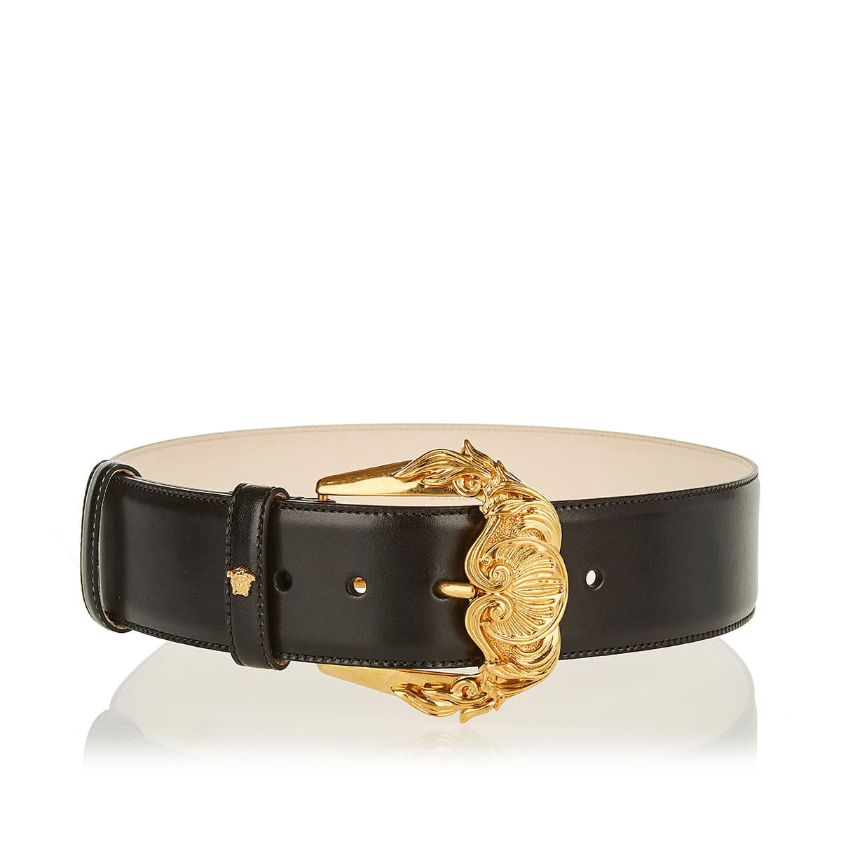 Barocco-buckle leather belt