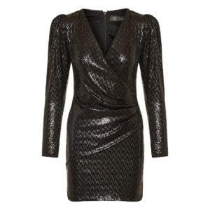Wrap-effect sequin mini dress