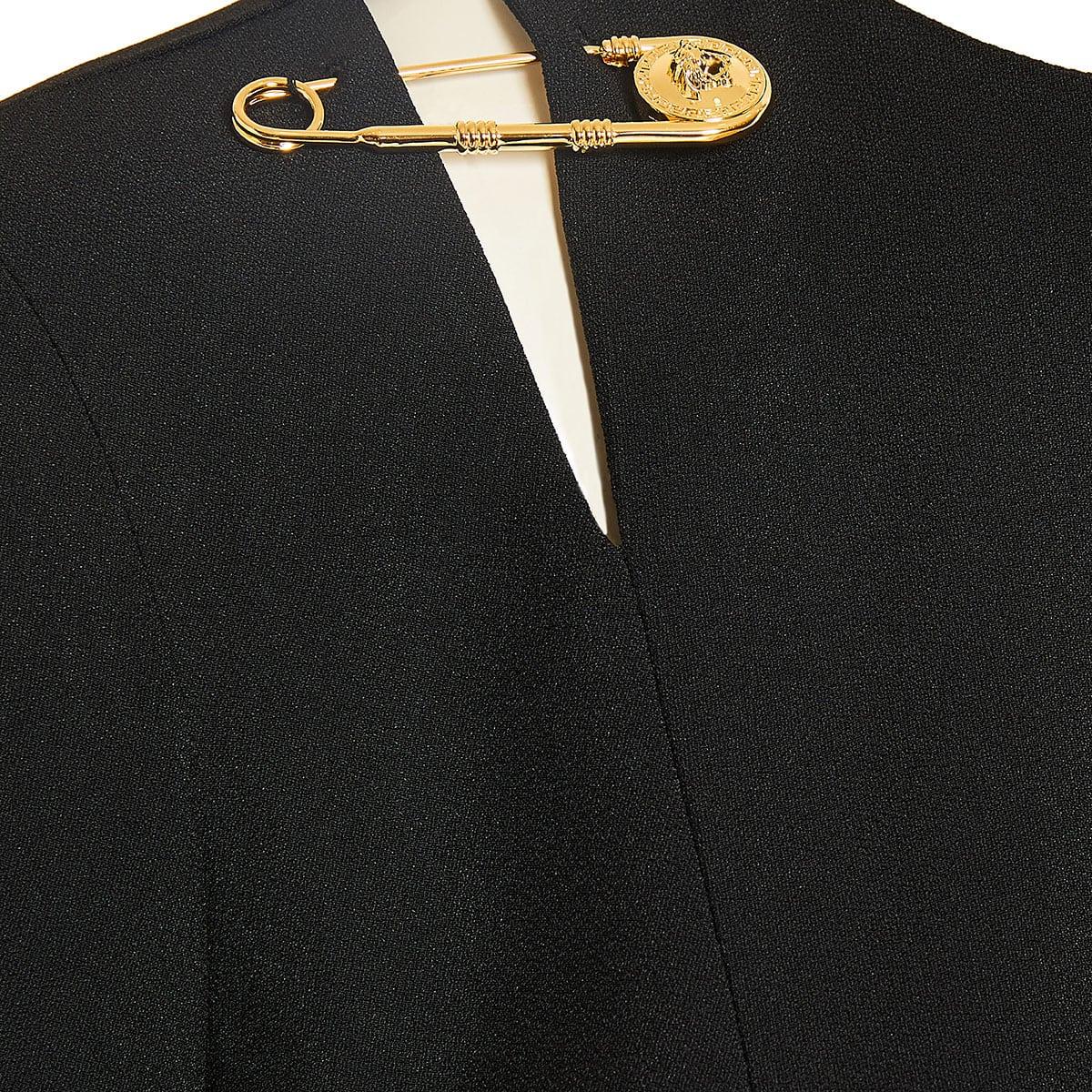 Pin embellished crepe dress