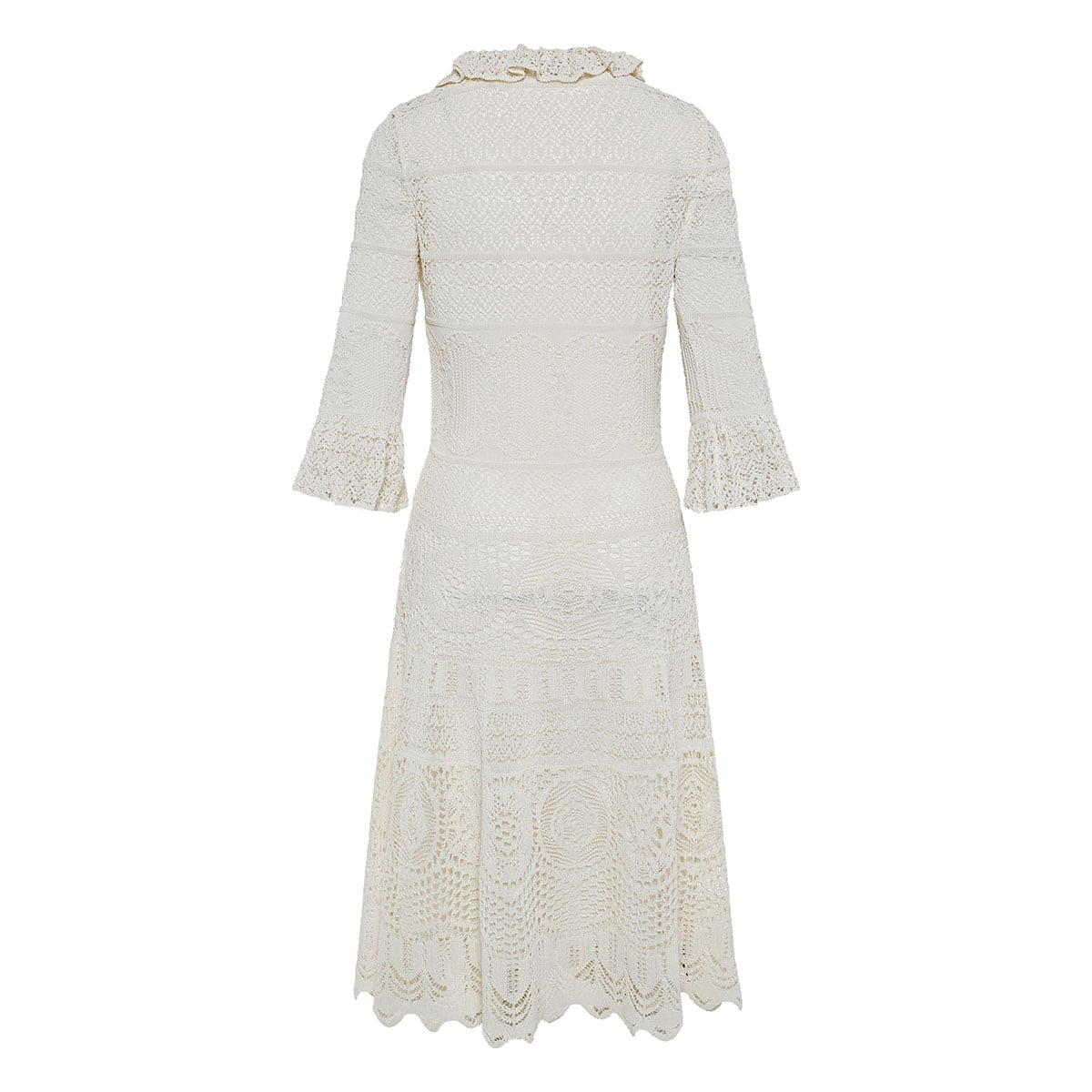 Lace-knitted midi dress