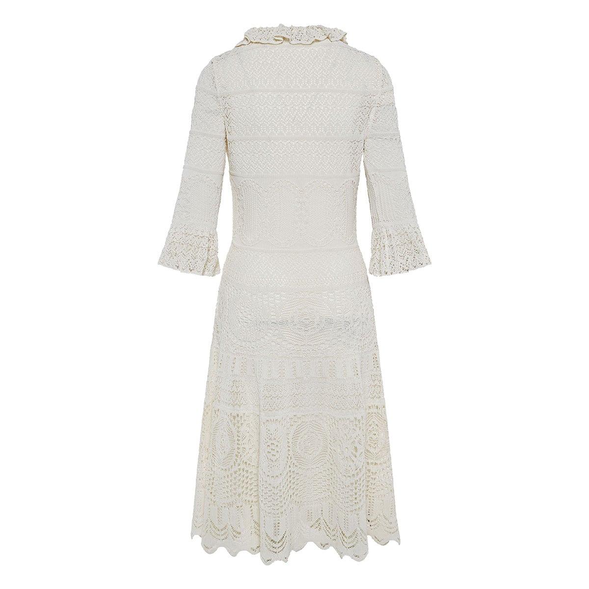 Lace-knitted midi dress