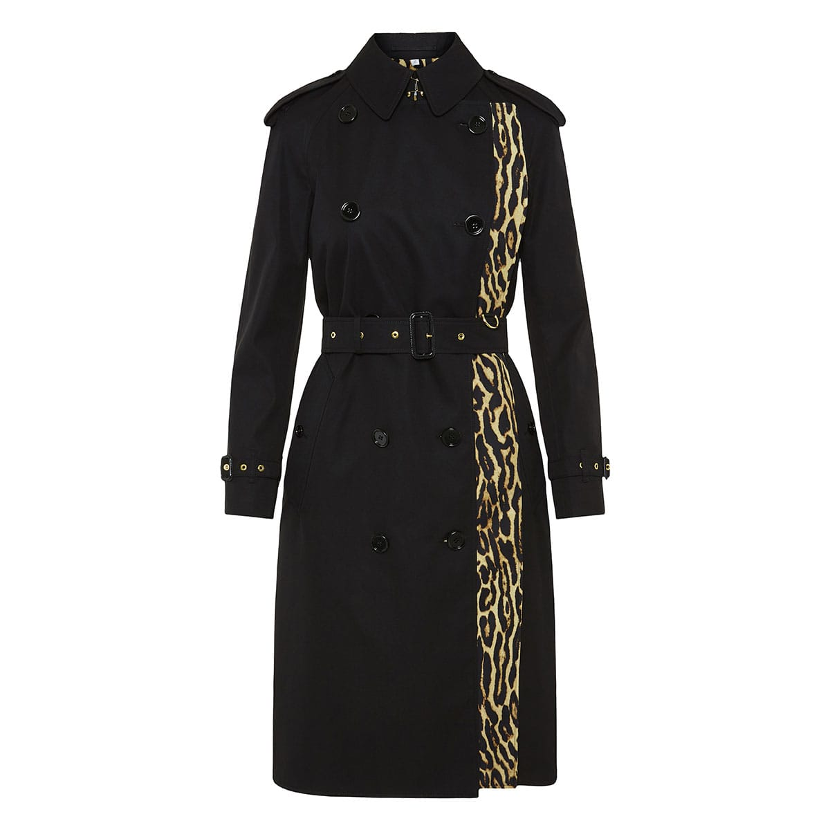 Leopard-lined cotton trench coat