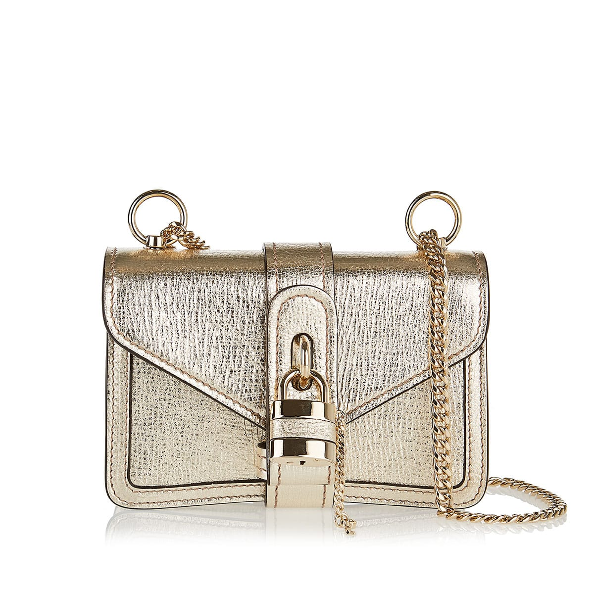 Aby Chain mini metallic-leather shoulder bag