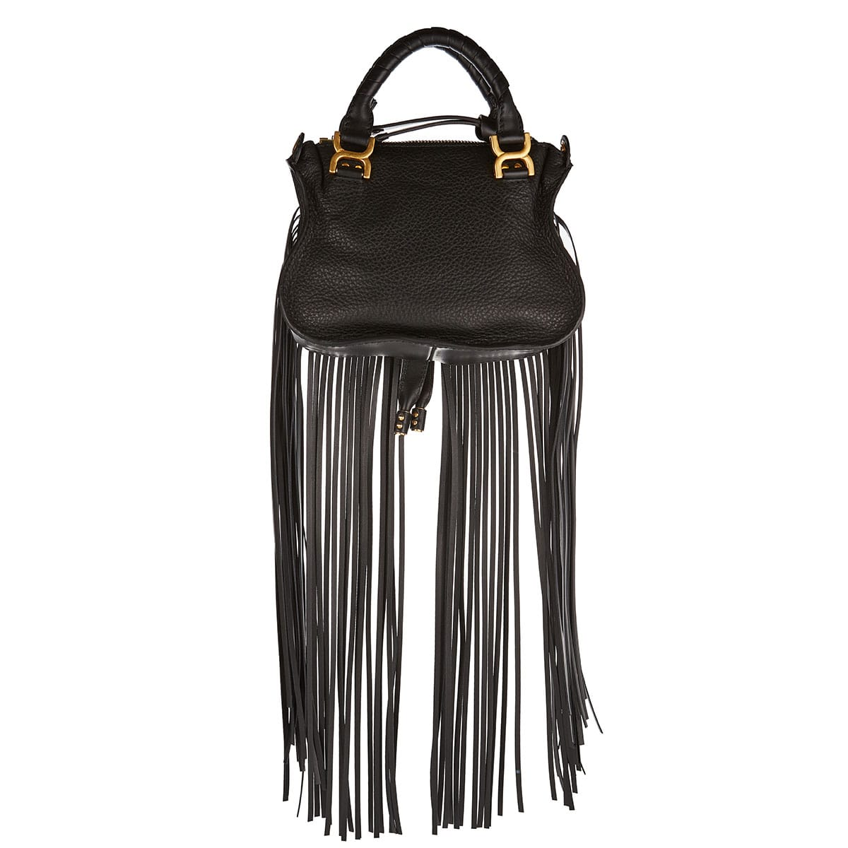Marcie mini fringed leather bag