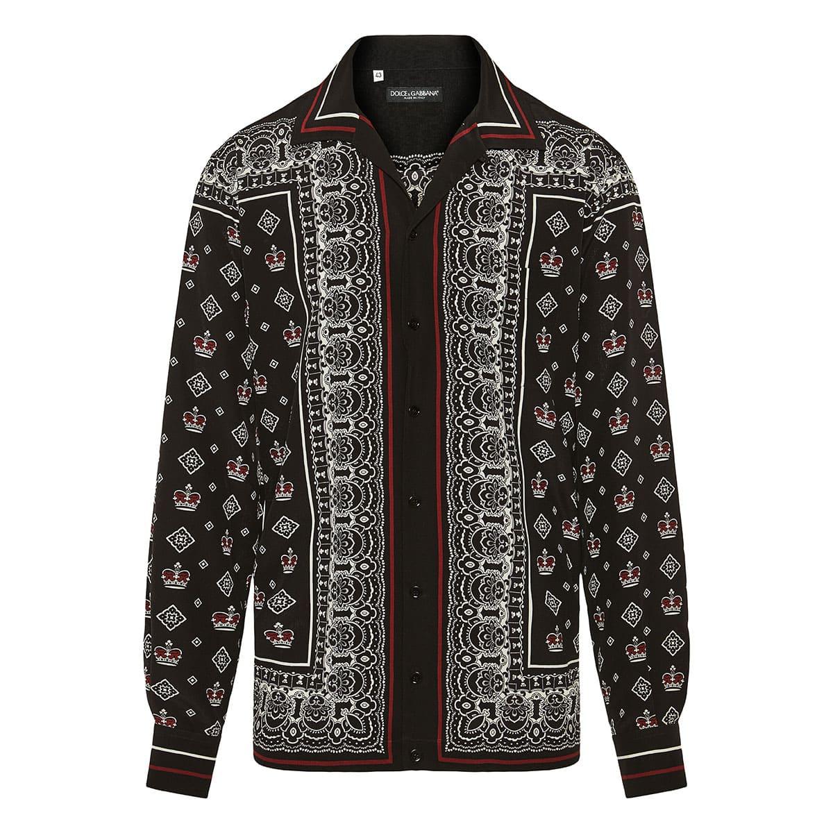 Bandana and Crown printed silk shirt
