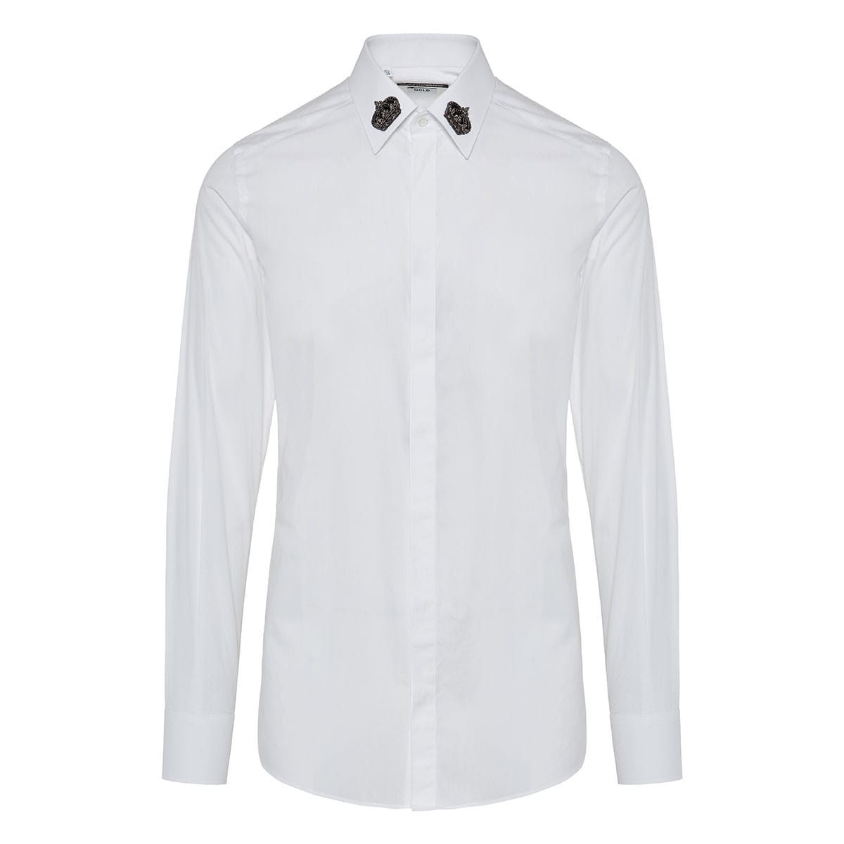 Poplin shirt with crown patches