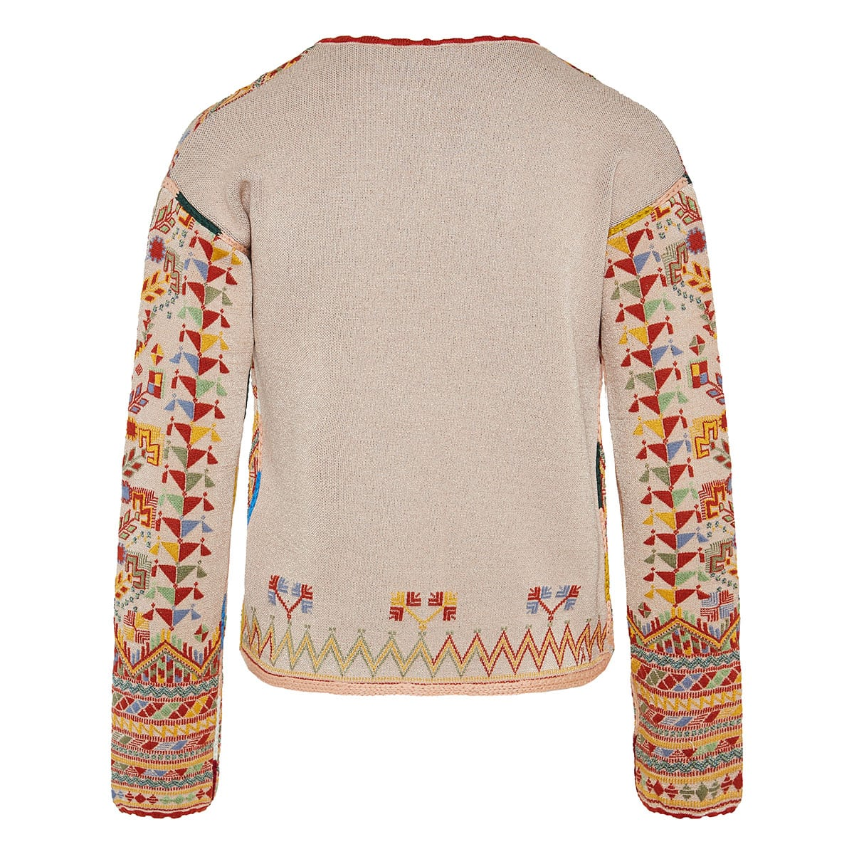 Ethnic print jacquard knitted jacket