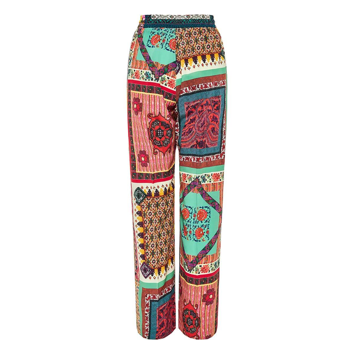 Patchwork print wide-leg silk trousers