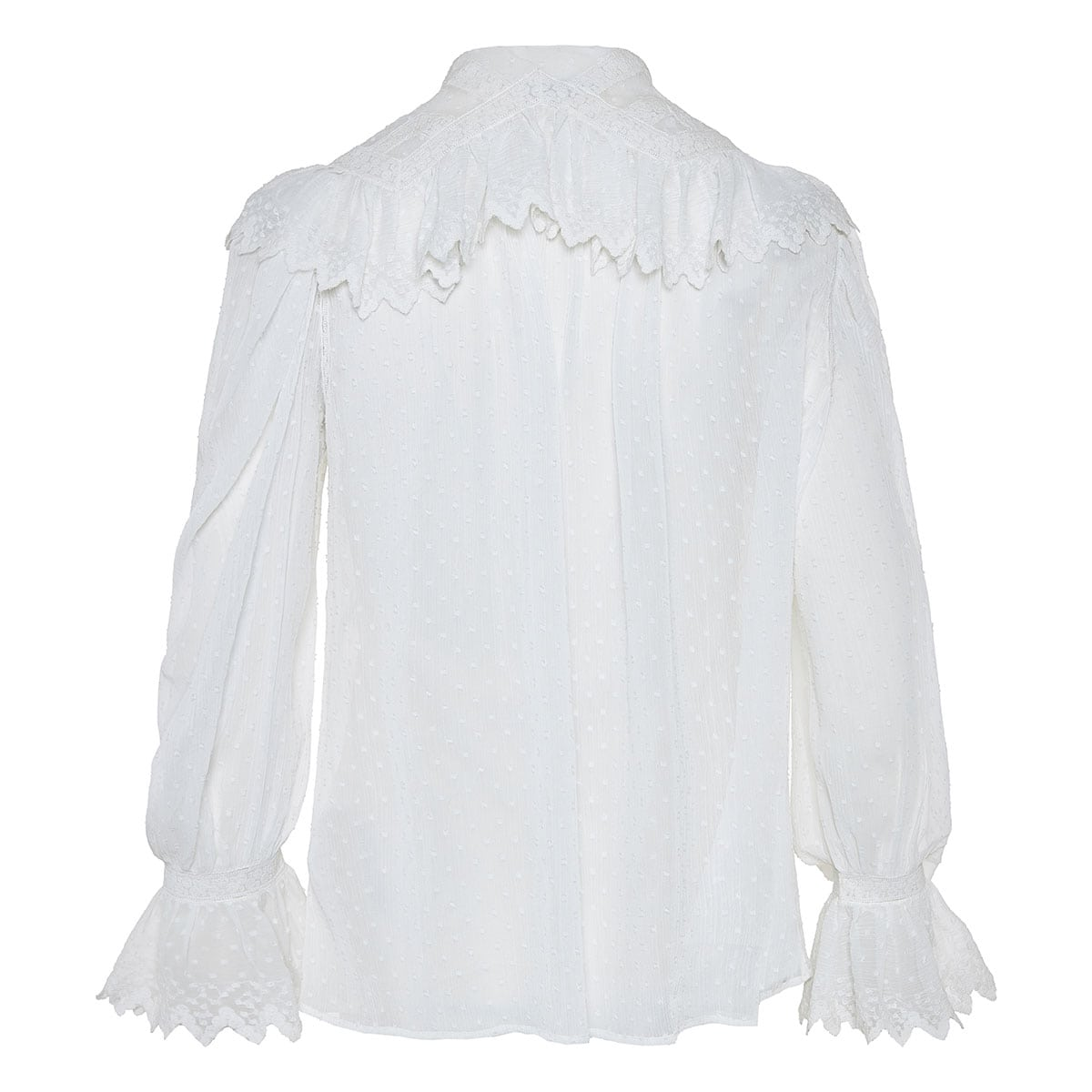 Ruffle-trimmed sheer embroidered shirt