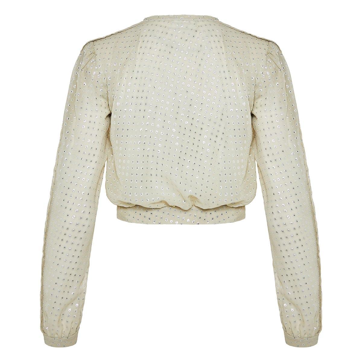 Dotted chiffon cropped blouse