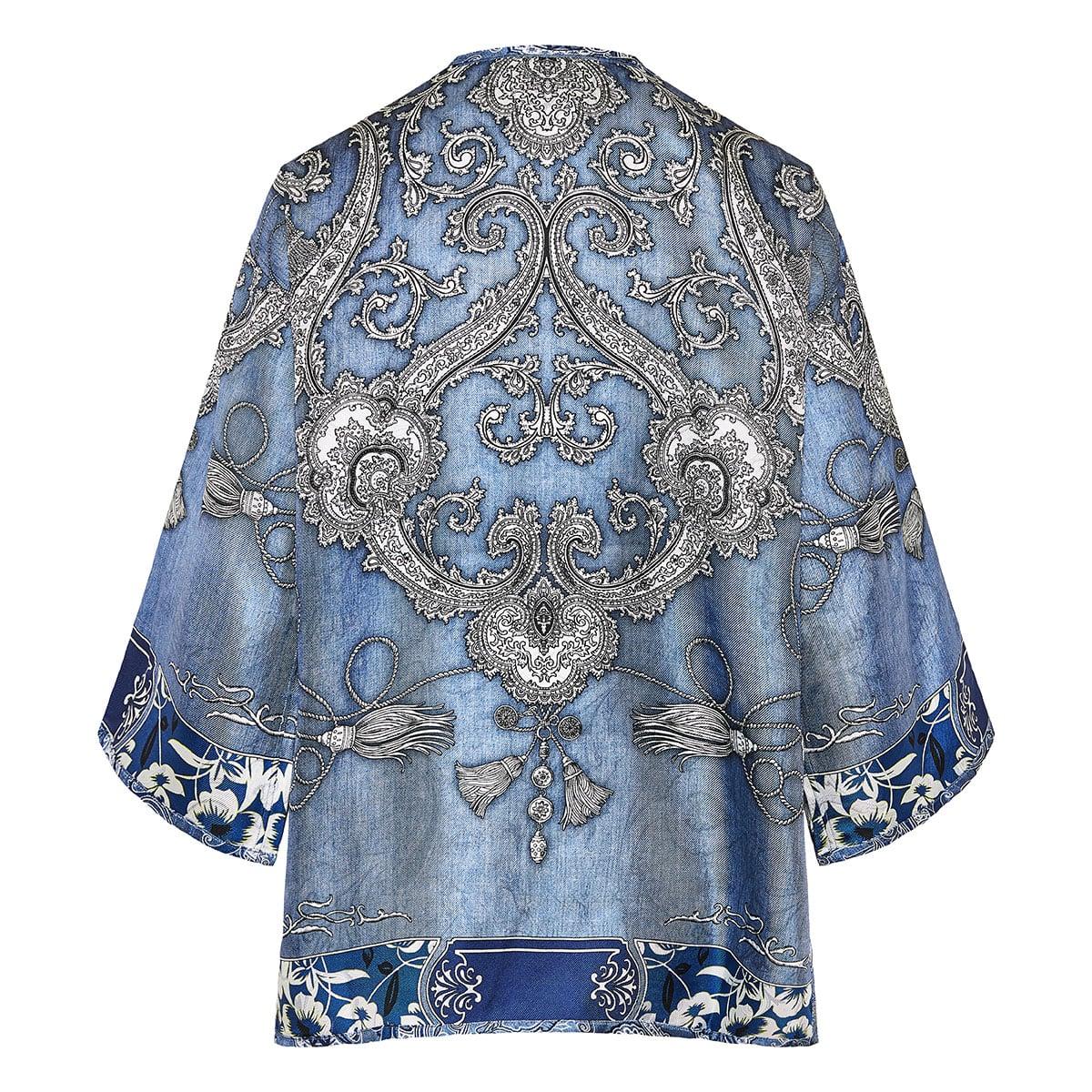 Scarf print kimono