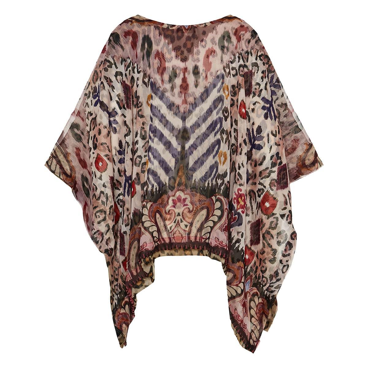 Printed silk chiffon poncho
