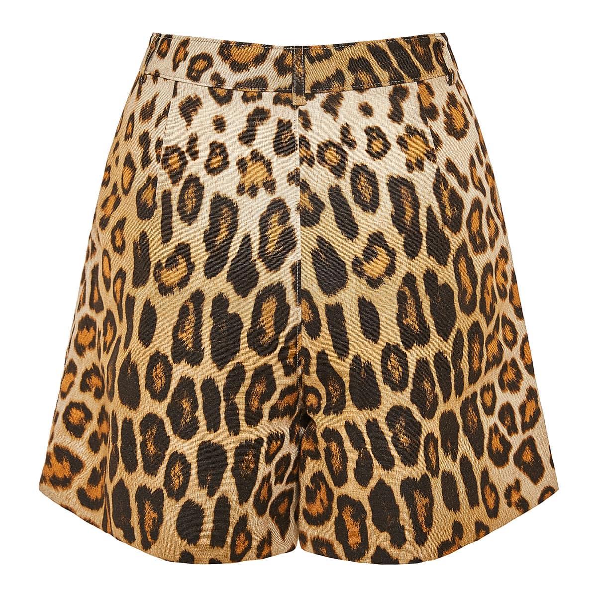 High-waist leopard shorts