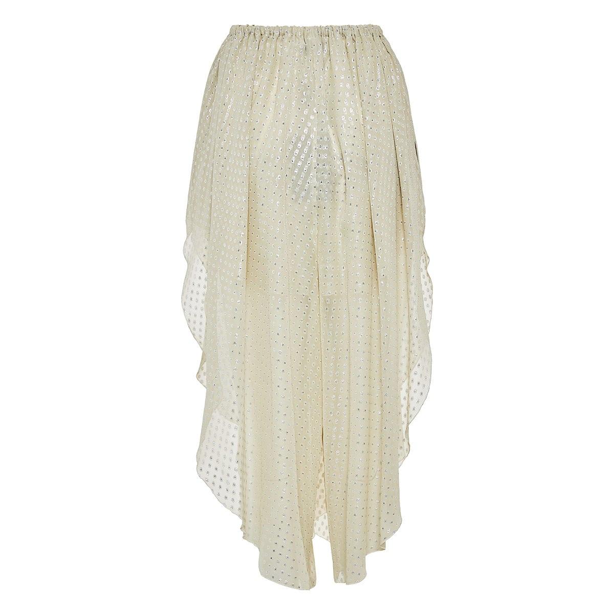 Dotted chiffon pleated midi skirt