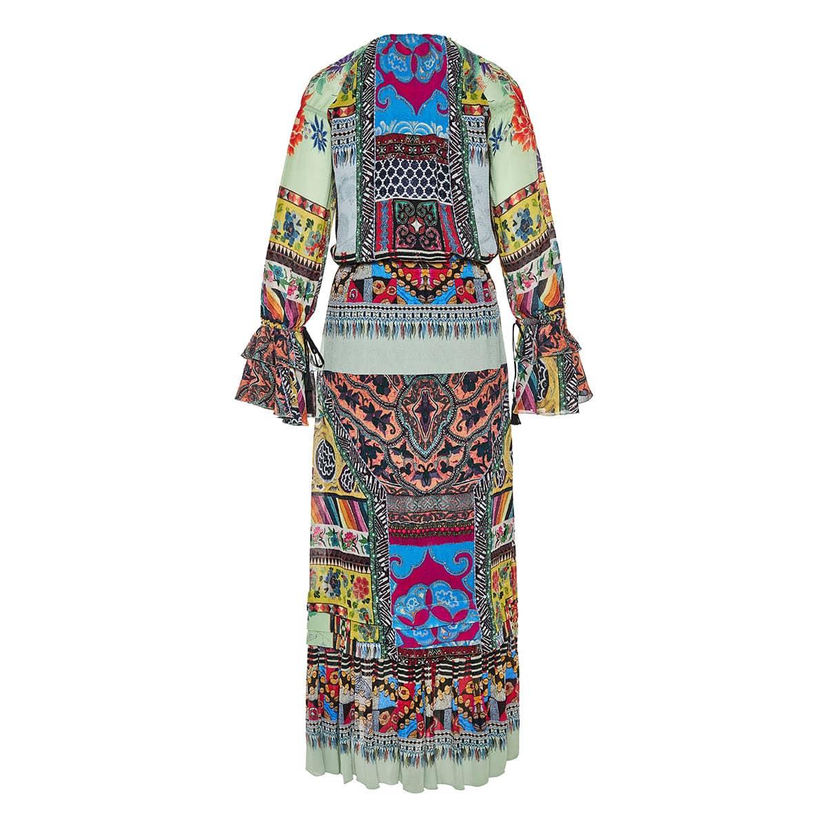 Patchwork print long dress