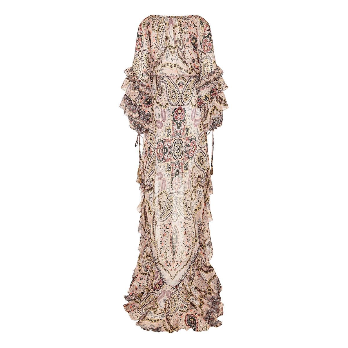 Ruffle-trimmed paisley chiffon gown