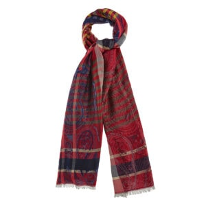 Paisley checked printed scarf