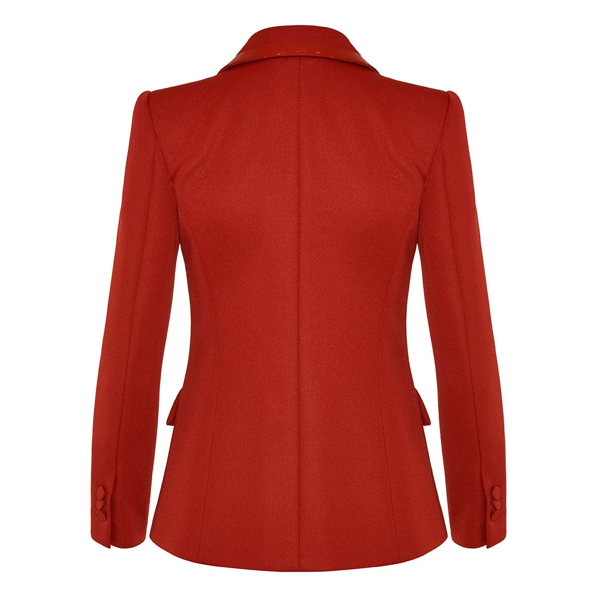Patent-trimmed single-breasted blazer