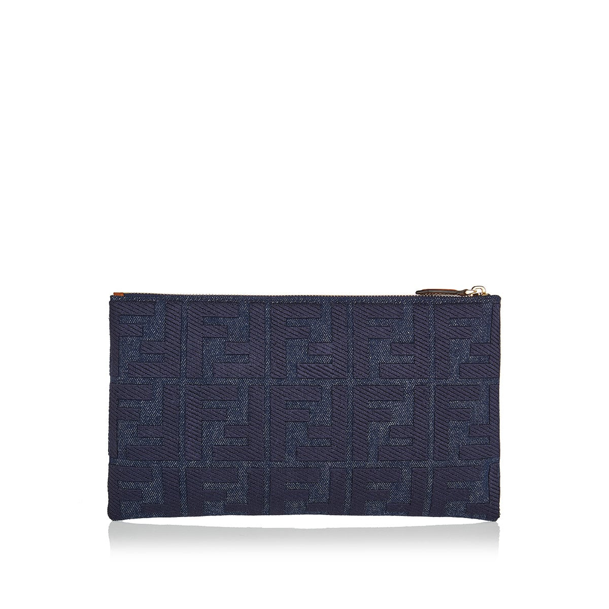 FF embroidered denim pouch