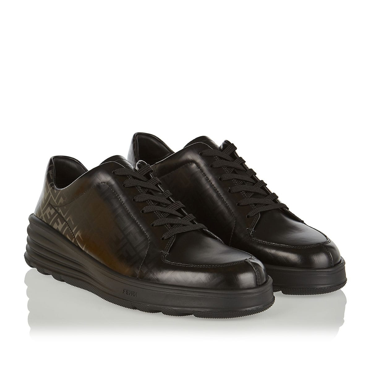 FF logo leather sneakers