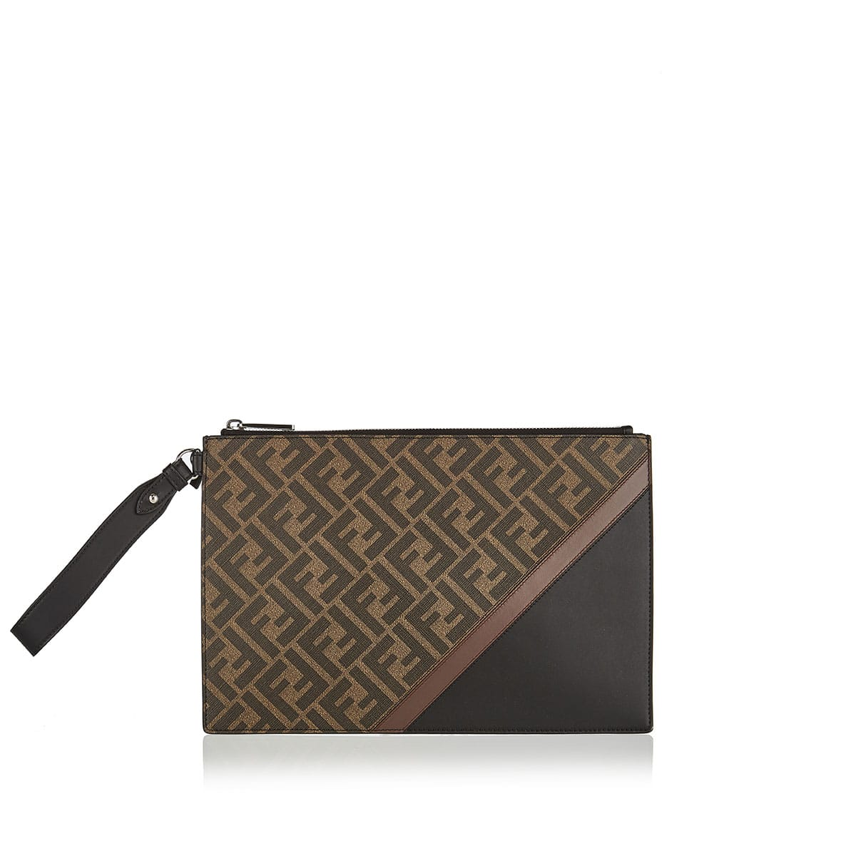 FF leather and canvas pouch