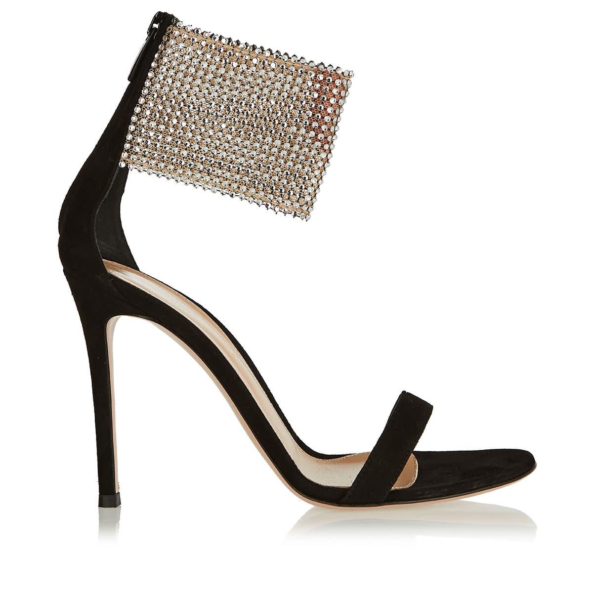 Adore 110 crystal-embellished suede sandals