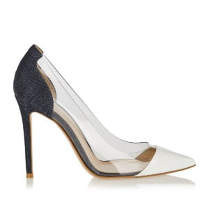 Plexi pvc denim and leather pumps