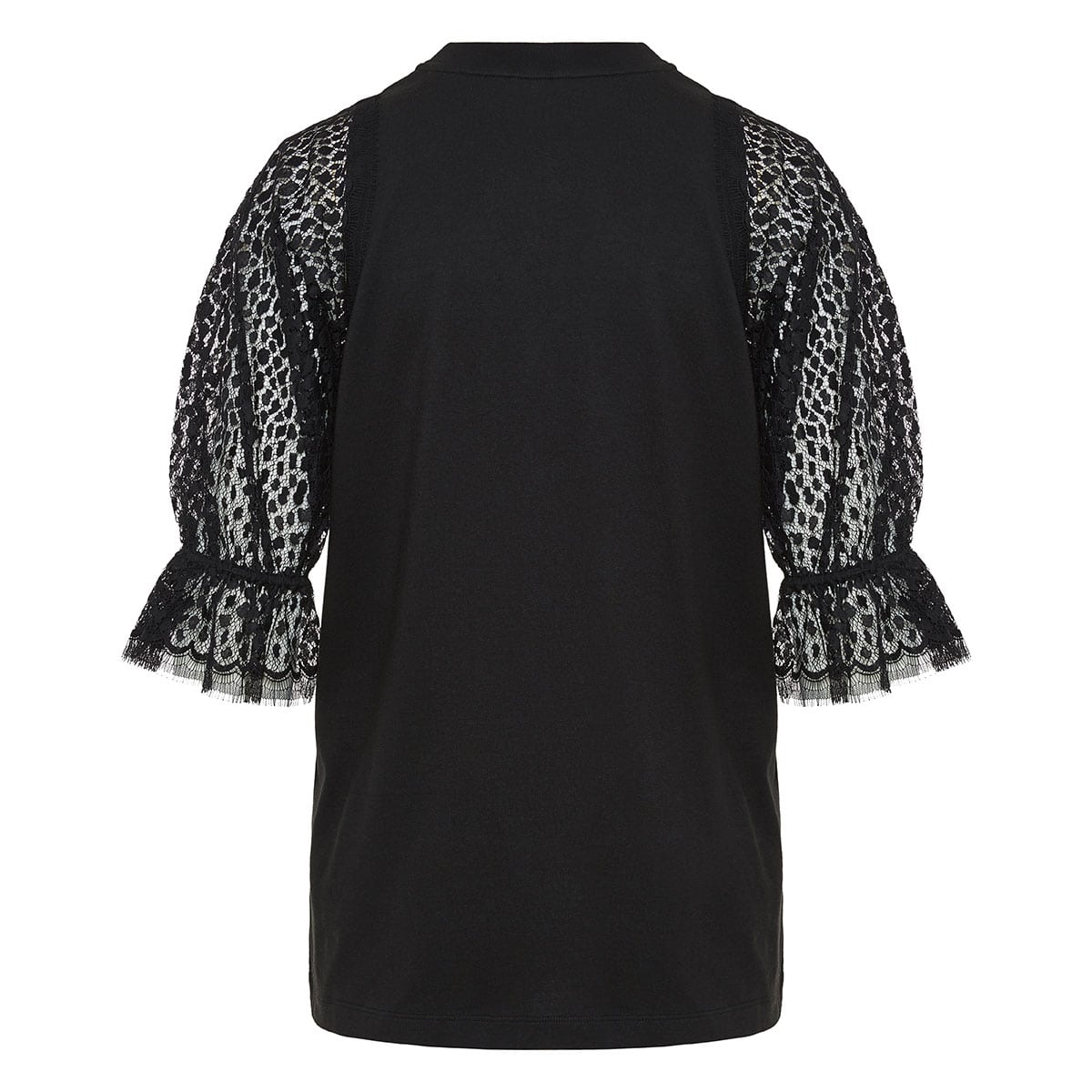 Lace-sleeved cotton top