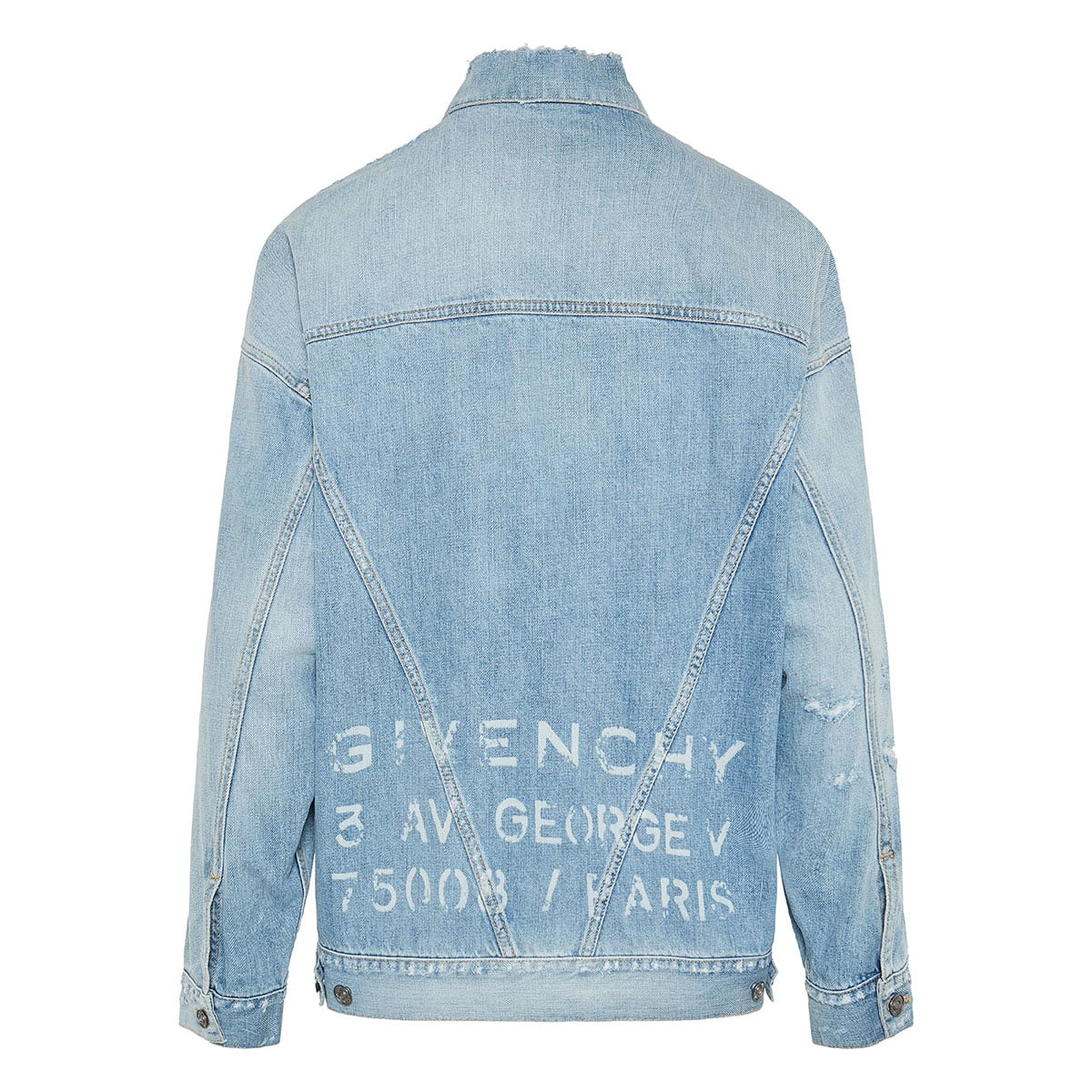 Oversized distressed denim logo jacket