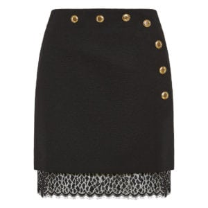 Lace-trimmed wool mini skirt