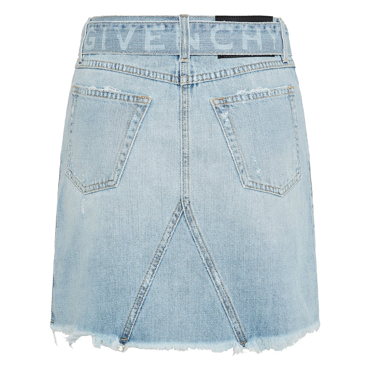 Belted denim mini skirt