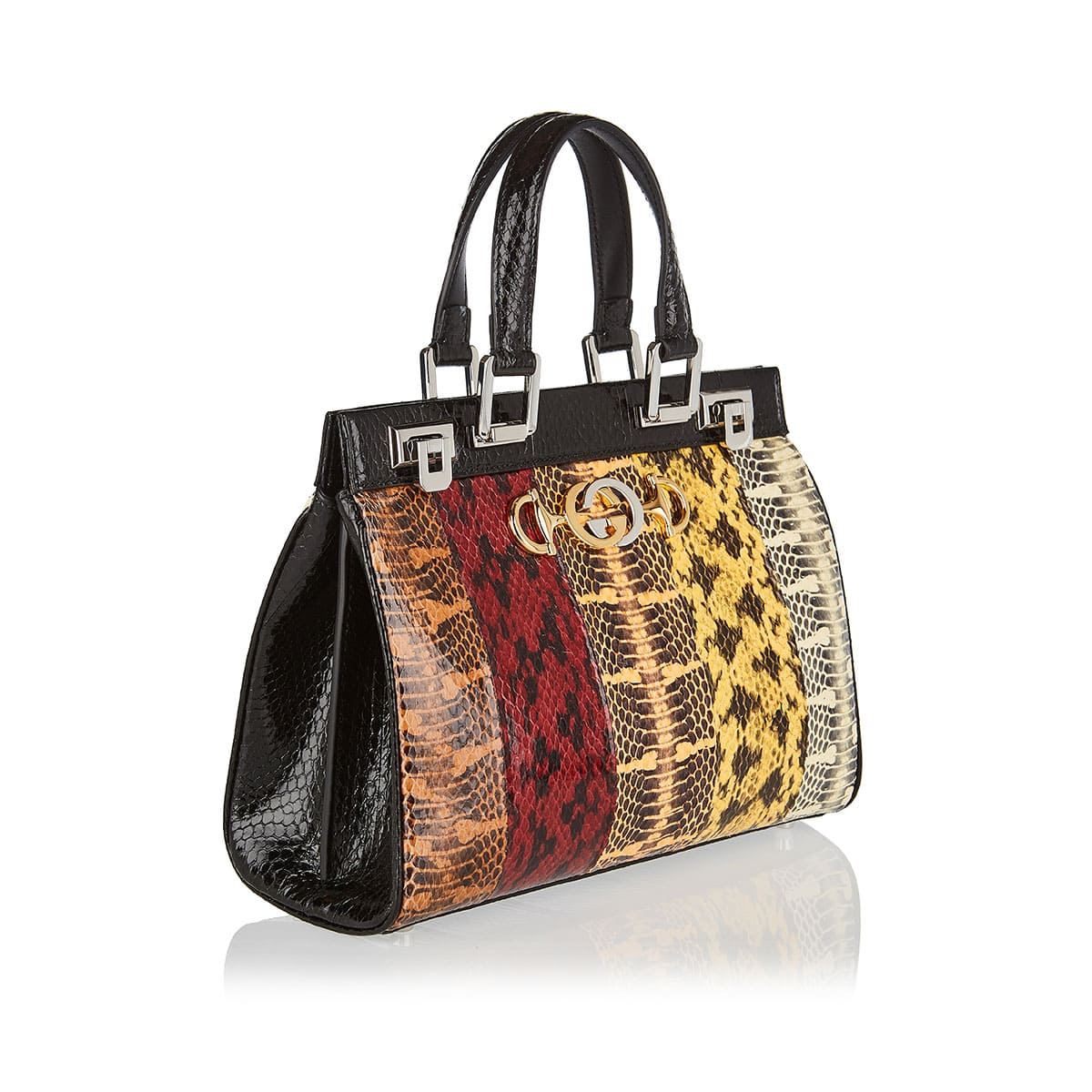 Patchwork snakeskin top-handle bag
