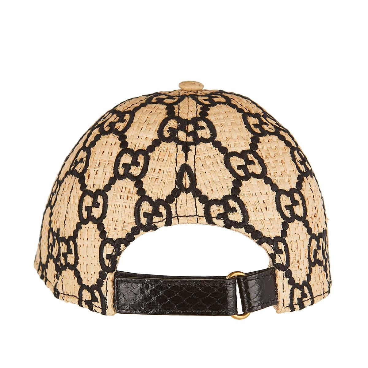 GG embroidered raffia cap