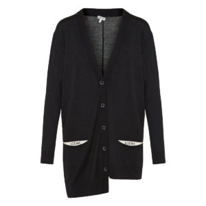 Asymmetric logo wool cardigan