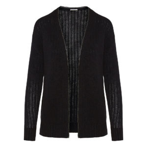 Chain-trimmed ribbed cardigan