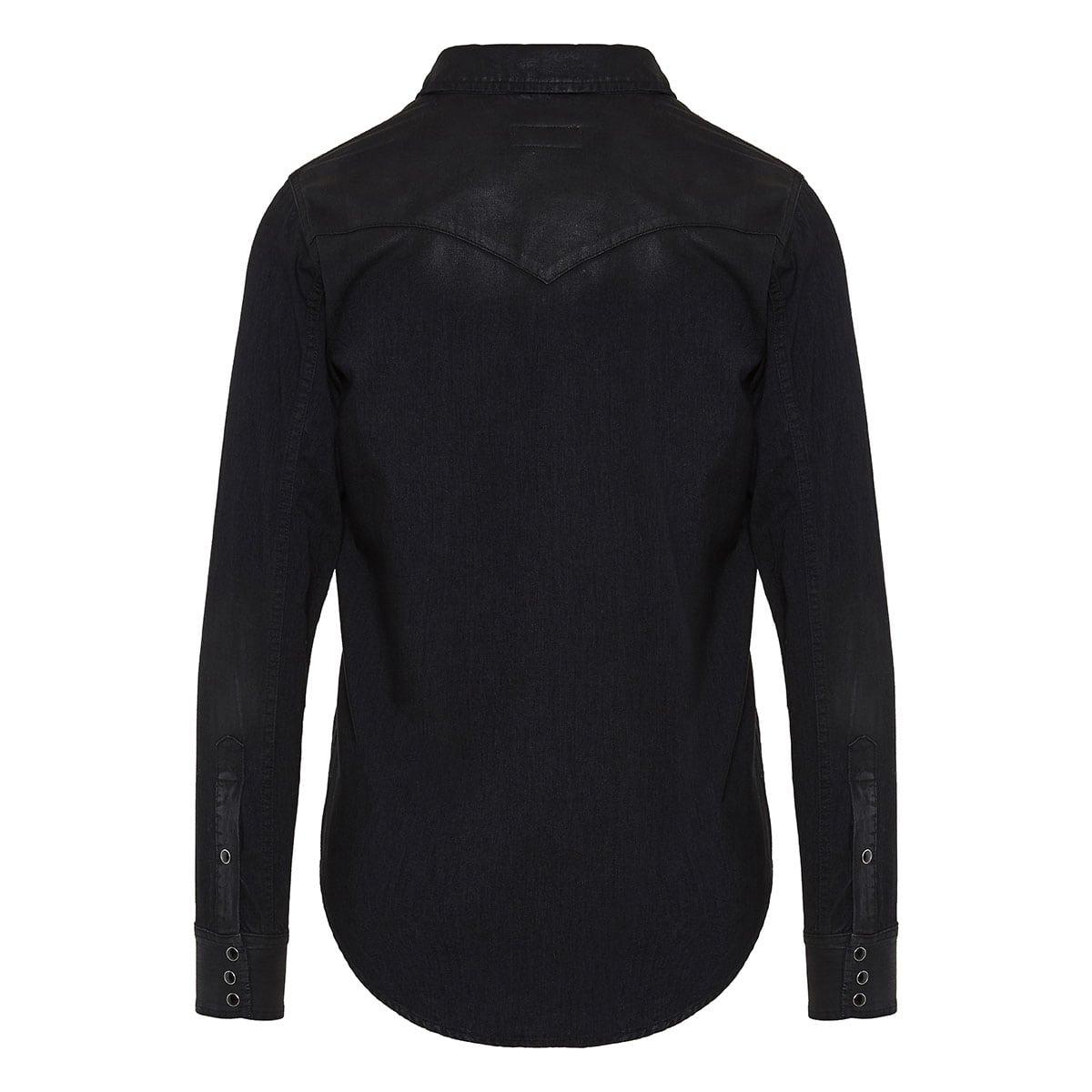 Western coated-denim shirt