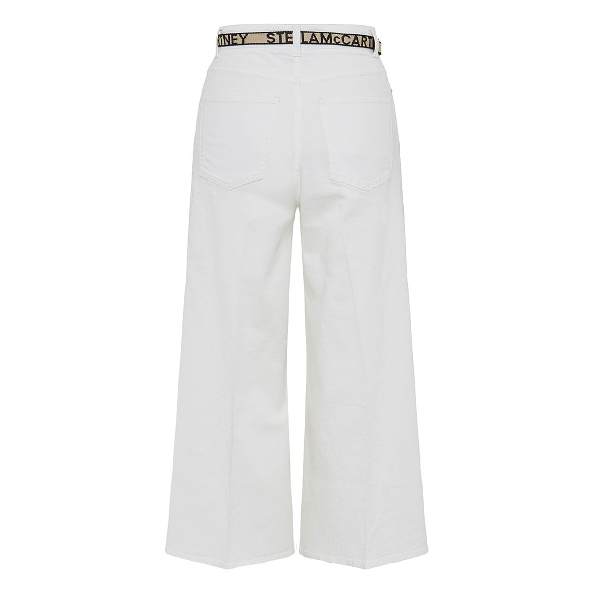 Belted wide-leg cropped trousers