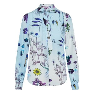 Bow-tie floral silk shirt