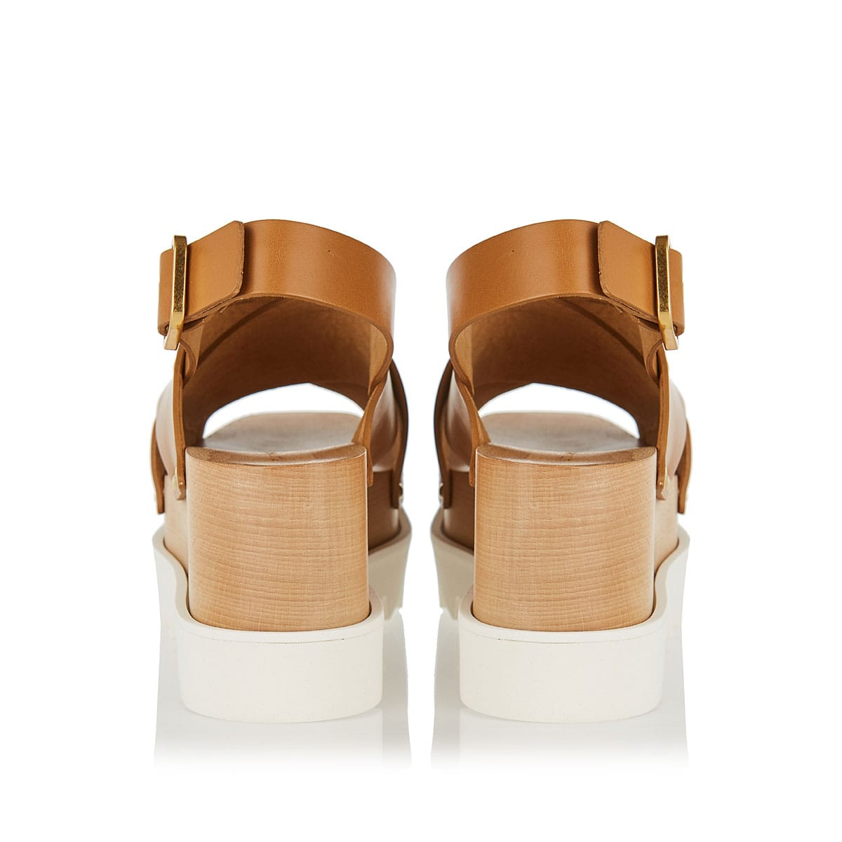 Faux-leather slingback wedges