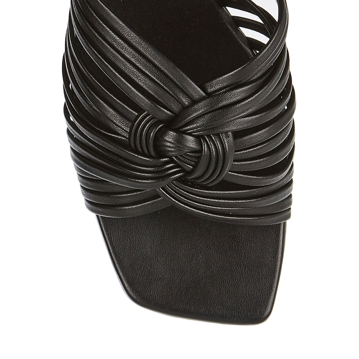 Mules with interlaced knotted straps