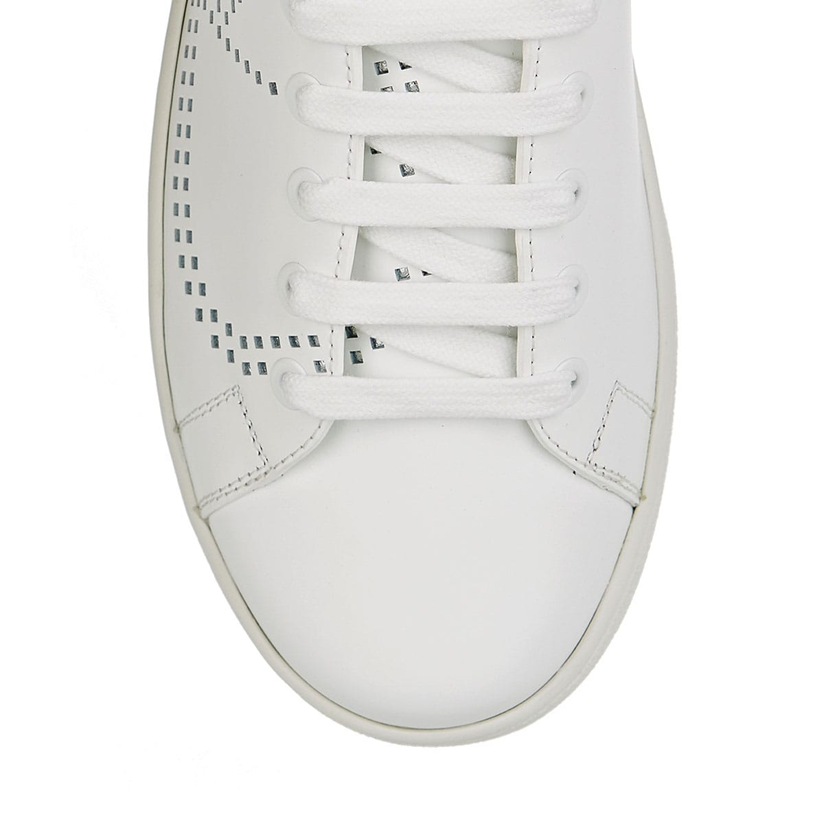 V-logo leather sneakers